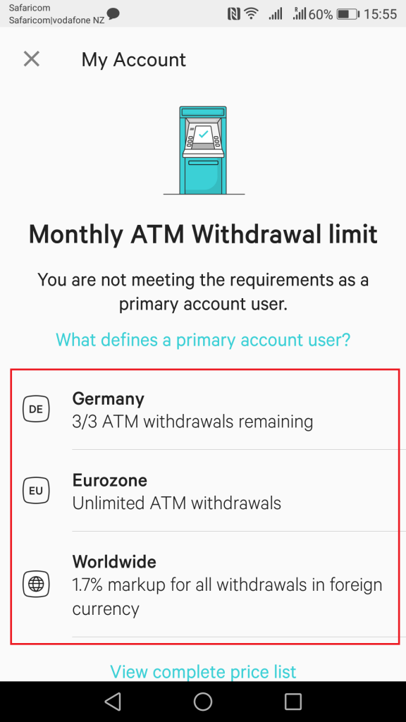 n26 atm withdrawal fees